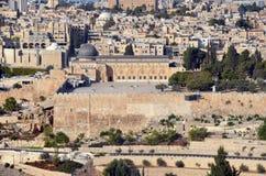 耶路撒冷墙壁和阿克萨清真寺 免版税图库摄影