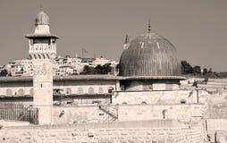 耶路撒冷墙壁和阿克萨清真寺 库存照片