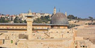 耶路撒冷墙壁和阿克萨清真寺 图库摄影