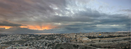 耶路撒冷日落 库存图片