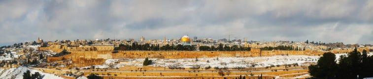 耶路撒冷旧城在耶路撒冷,以色列全景 免版税库存图片