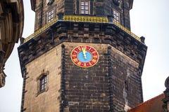 耶路撒冷旧城,德累斯顿 王宫的一座古老钟楼 A 免版税图库摄影