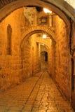 耶路撒冷晚上街道 库存照片