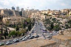 耶路撒冷看法从城堡的墙壁的 免版税库存照片