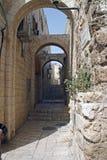 耶路撒冷缩小的老街道 库存图片