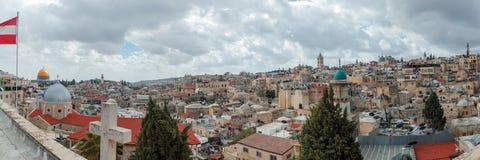全景-老城市,耶路撒冷屋顶  库存照片