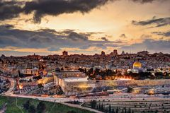 耶路撒冷耶路撒冷旧城地平线 库存图片