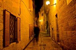 耶路撒冷胡同在晚上 免版税库存照片