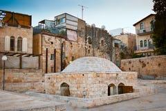 耶路撒冷街道和屋顶在老城市 以色列 库存照片