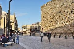 耶路撒冷街道场面在老城市,以色列 免版税库存照片