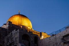 耶路撒冷西部墙壁视图,阿克萨清真寺 库存照片