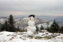 耶路撒冷雪人 免版税库存图片