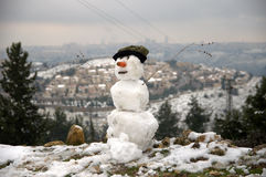 耶路撒冷雪人 免版税库存照片