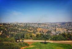 耶路撒冷风景城市视图 全景空中东部旁边照片 库存照片