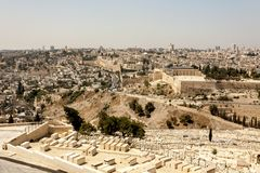 耶路撒冷,以色列看法从橄榄山的 免版税库存照片