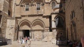 耶路撒冷,以色列2016年9月,20日:圣墓教堂的外部射击在耶路撒冷 影视素材
