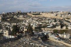 耶路撒冷,以色列- 2016年12月26日,一幅全景的耶路撒冷旧城 图库摄影