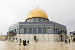 耶路撒冷,以色列- 2016年12月18日:岩石圆顶  库存照片