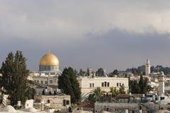 耶路撒冷,以色列- 2016年12月17日:岩石的圆顶看法  免版税库存照片