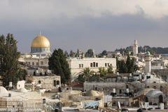 耶路撒冷,以色列- 2016年12月17日:岩石的圆顶看法  库存图片
