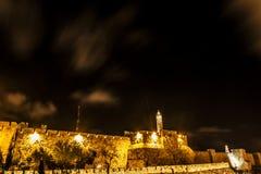 耶路撒冷,以色列老城市墙壁在夜之前 库存图片