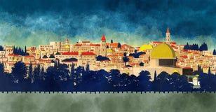 耶路撒冷,以色列:岩石和老城市的圆顶的看法 库存例证