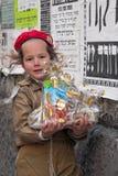 耶路撒冷,以色列- 2006年3月15日:在著名极端保守的处所耶路撒冷- Mea Shearim的普珥节狂欢节 免版税库存照片