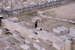 耶路撒冷,以色列- 2017年2月27日-祈祷在橄榄山犹太公墓的犹太人 免版税库存照片