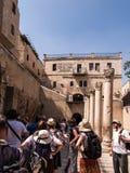 耶路撒冷,以色列- JULI 13日2015年:Cardo Maximus,罗马柱子 图库摄影