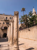 耶路撒冷,以色列- JULI 13日2015年:Cardo Maximus,罗马柱子 库存照片