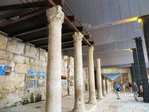 耶路撒冷,以色列- JULI 13日2015年:Cardo Maximus,罗马柱子 免版税库存照片