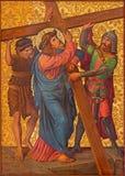 耶路撒冷-基督在我们的夫人运载他的发怒油漆Of The Spasm亚美尼亚教会里  免版税库存图片