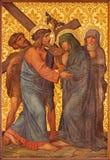 耶路撒冷-耶稣集会他的母亲油漆在我们的夫人Of The Spasm亚美尼亚教会里  免版税库存照片