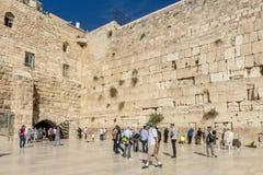 耶路撒冷 著名犹太寺庙是哭泣的墙壁在老镇 免版税库存图片