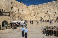 耶路撒冷 著名犹太寺庙是哭泣的墙壁在老镇 图库摄影