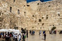 耶路撒冷 著名犹太寺庙是哭泣的墙壁在老镇 库存图片