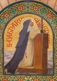 耶路撒冷-锡耶纳的圣徒Catharine油漆在st斯蒂芬斯教会里从年1900年约瑟夫奥贝特 库存图片