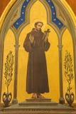 耶路撒冷-阿西西圣法兰西斯油漆在鞭打教会里通过Dolorosa 库存照片