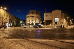 耶路撒冷- 20 04 2017年:耶路撒冷市中心晚上时间, rai 库存图片