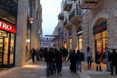 耶路撒冷mamila现代新的季度 免版税图库摄影