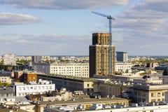 耸立在华沙的中心的摩天大楼 库存图片