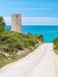 耸立在地中海海岸在西班牙 图库摄影