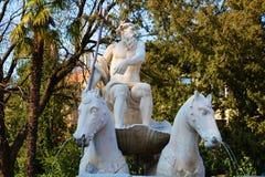聂图诺喷泉在科内利亚诺,威尼托,意大利 库存图片