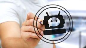聊天与chatbot应用3D翻译的商人 免版税库存图片