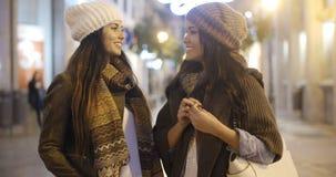 聊天在一条街道的两名妇女在冬天 库存图片