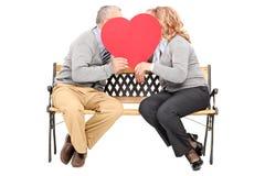 聊天在大红色心脏后的年长夫妇 库存图片