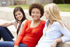 聊天少年学生的女孩户外 免版税图库摄影