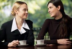 聊天微笑的女实业家二个年轻人 库存照片