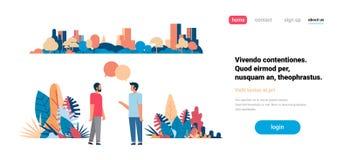 聊天泡影沟通在城市摩天大楼视图都市风景背景地平线平的水平的拷贝空间的两个人 向量例证