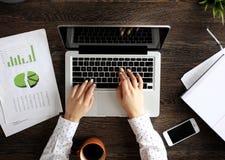 年轻职业妇女与计算机一起使用 图库摄影